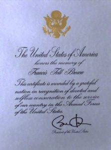 Francis Fell Brown Presidential Memorial Certificate