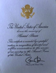 Howard Brown Presidential Memorial Certificate