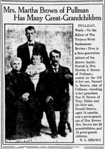 The Twice-Weekly Spokesman Review - December 9, 1910 l-r: Martha J. (Carper) Brown, Guy O. Brown, Donald Brown, Samuel L. Brown