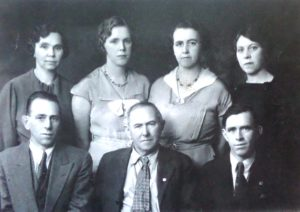 "L-R top row: Roxie Isabell, Mabel Josephine, Bessie E., Violet Alice Bottom row: George Alfred, William H. ""Hank."" Charles Henry (photo courtesy Edas Weseman)"