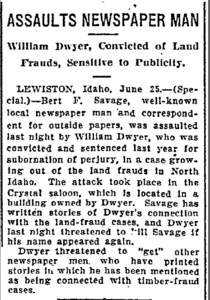 Oregonian - June 26, 1908 - William Dwyer assaults reporter