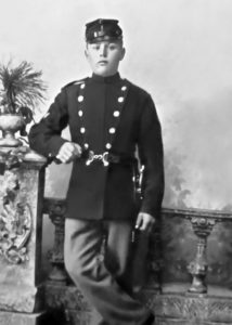 Frederik Georg Frederiksen (ca. 1892) - In uniform while enlisted in the Danish Military (photo courtesy of Rod Frederiksen) Attached are files for 1 Restoration. Restore photo. Do Not alter the faces. Remove any Border. make photo 5x7 @ 300dpi. Save As Jpeg - 11 Deadline is 1-11-2016
