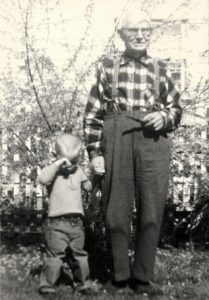F. George Frederiksen with great-grandson Rick Mannlein (ca. 1966) (photo courtesy Rod Frederiksen)