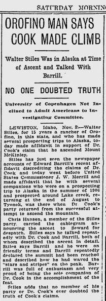 Walter Stilles Affidavit - The Spokesman-Review, November 6, 1909
