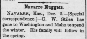George W. Stiles - Moves West - Abilene Weekly Reflector, December 5, 1889