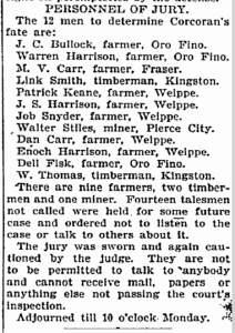 Paul Corcoran Trial Jury - Idaho Statesman, July, 9, 1899