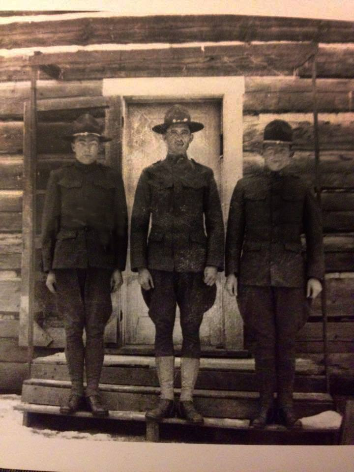 Charles H. Gleason – WWI (Center), son of William H. and Louisa (Dunning) Gleason. Photo restored by Alan Judge